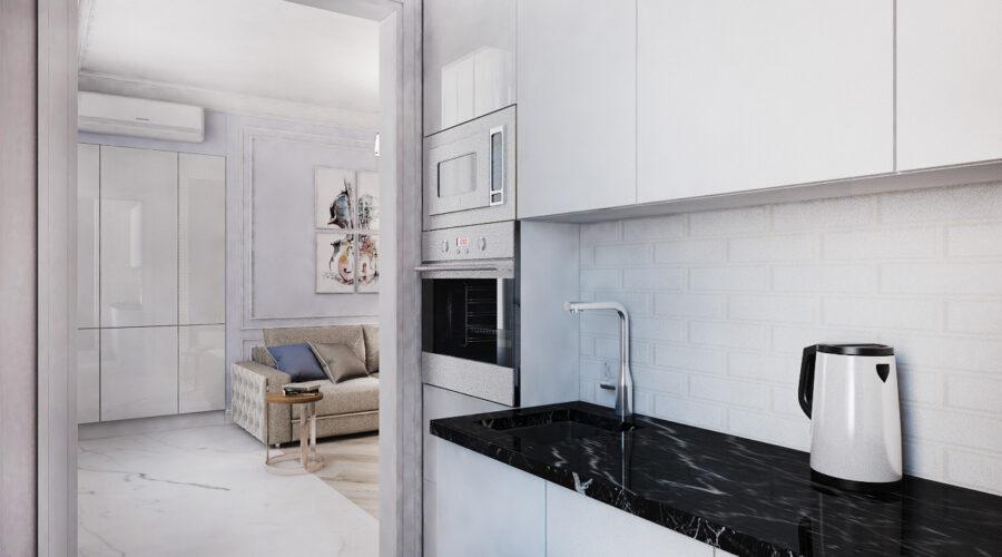 дизайн квартиры, дизайн интерьера, квартира в неоклассическом стиле, квартира в синих тонах, кухня в неоклассическом стиле, дизайн кухни