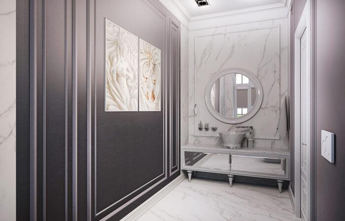 дизайн ванной, мрамор в ванной, ремонт ванной под ключ, дизайн интерьера, интеьрер ванной комнаты, ванная комнаита, ванная в неоклассическом стиле, ванная комната в современной классике