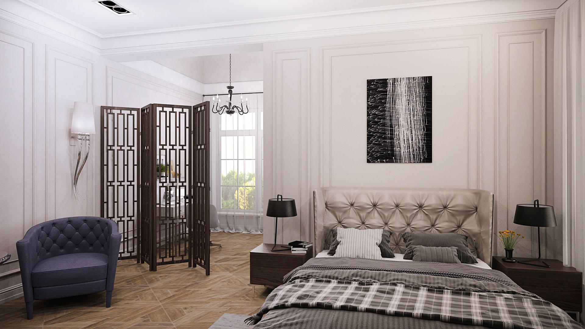 спальня в неоклассическом стиле, дизайн спальни, дизайн домов, дизайн интерьера,