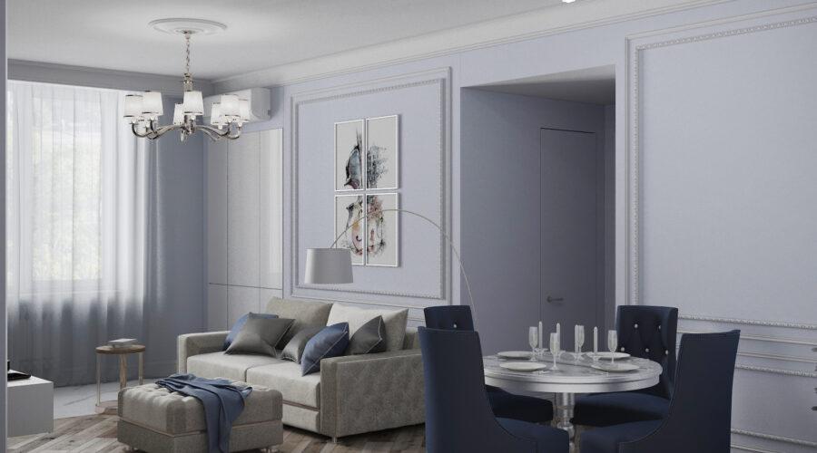 дизайн квартиры, дизайн интерьера, квартира в неоклассическом стиле, квартира в синих тонах
