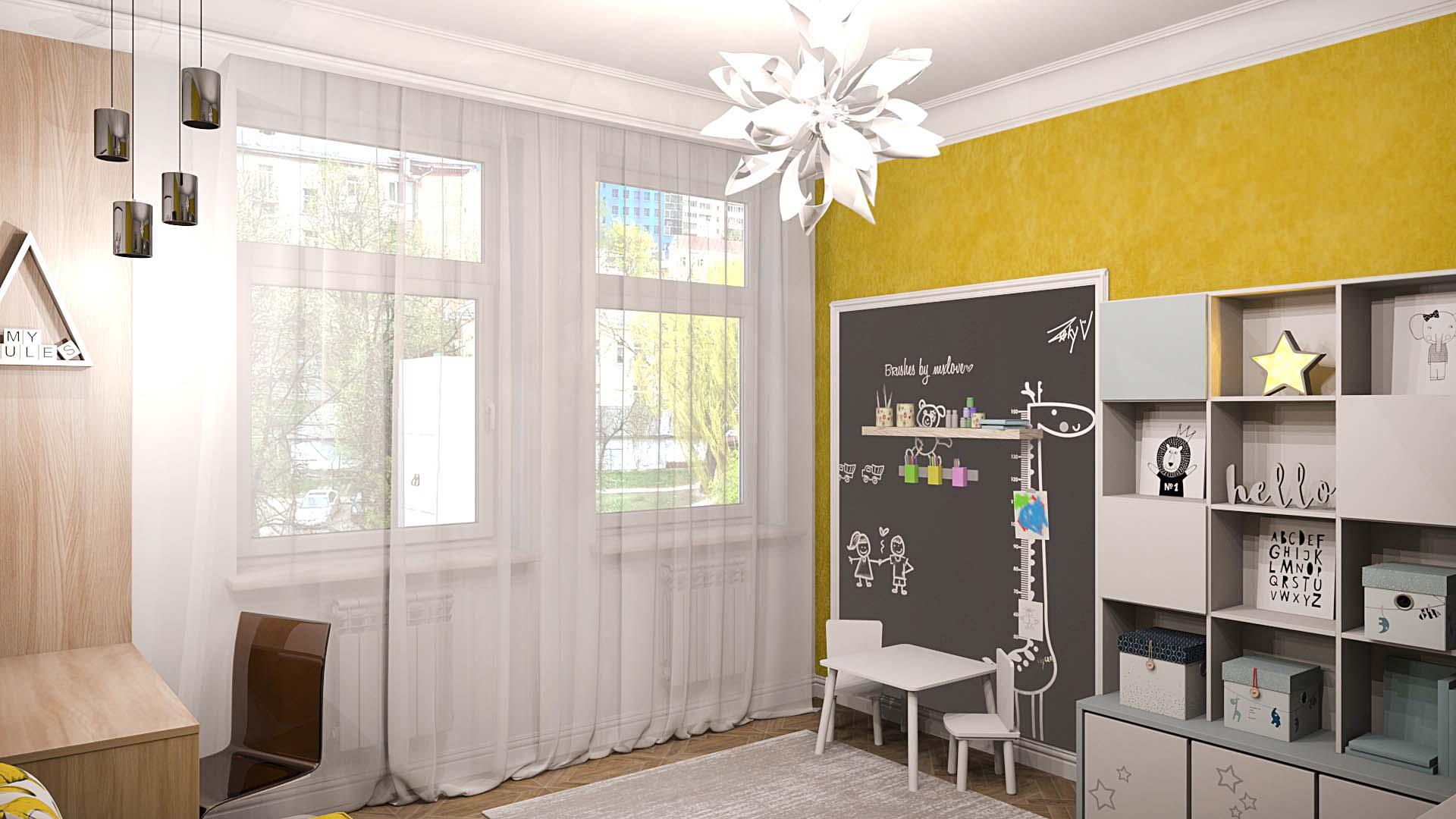 детская комната, детская доска на стене, дизайн детской, интерьер детской, детская в желтых цветах, диван в детской, обивка на стене в детской, детская для мальчика, детская для девочки