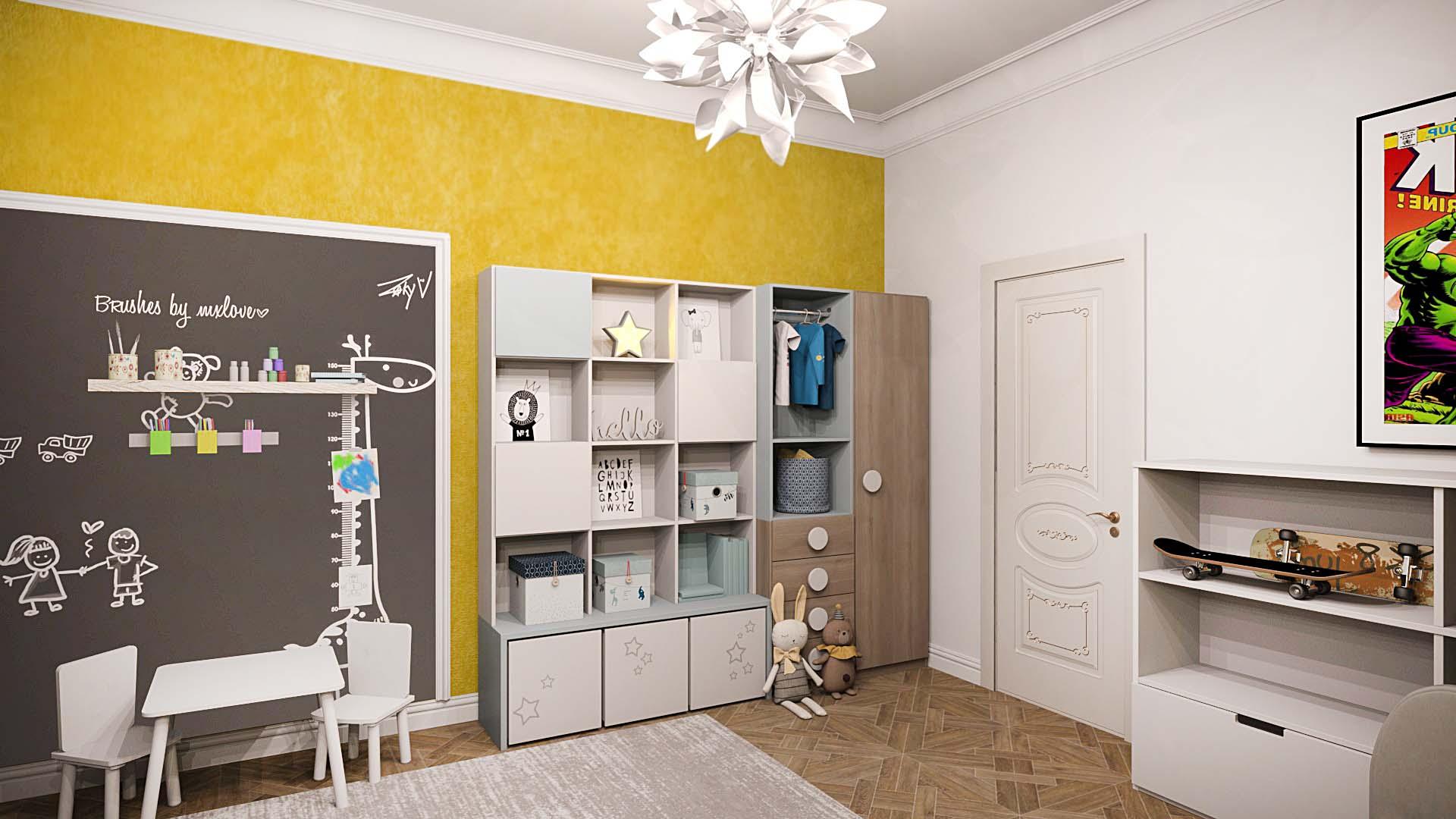 детская комната, дизайн детской, интерьер детской, детская в желтых цветах, диван в детской, обивка на стене в детской, детская для мальчика, детская для девочки