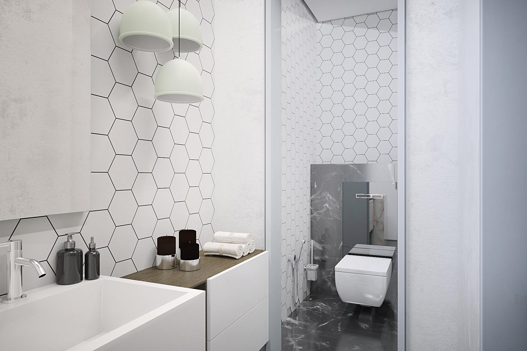 санузел в офисе, дизайн санузла, интерьер санузла, плитка шестигранник в санузле