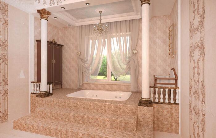 дизайн интерьера, дизайн ванной комнаты, дизайн большой ванной комнаты, классическая ванна, джакузи, ванная комната с колоннами, ванна со ступенями, ванна на пьедестале