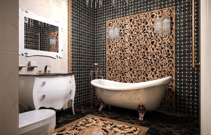 дизайн ванной комнаты, дизайн плитки, дизайн интерьера, дизайн плитки VERSACE, дизайн ванной под ключ