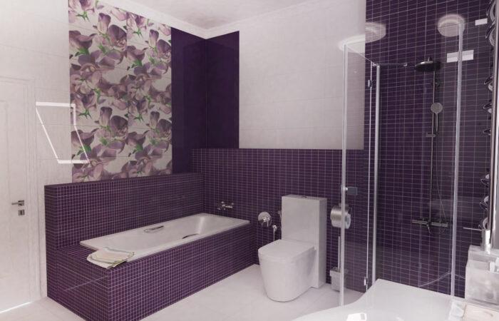 Фиолетовая Ванная, дизайн-проект ванной под ключ, дизайн ванной комнаты, интерьер ванной
