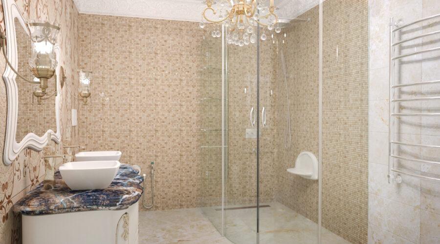 мозаика в душевой, дизайн ванной, дизайн интерьера душевой, интерьер классической душевой