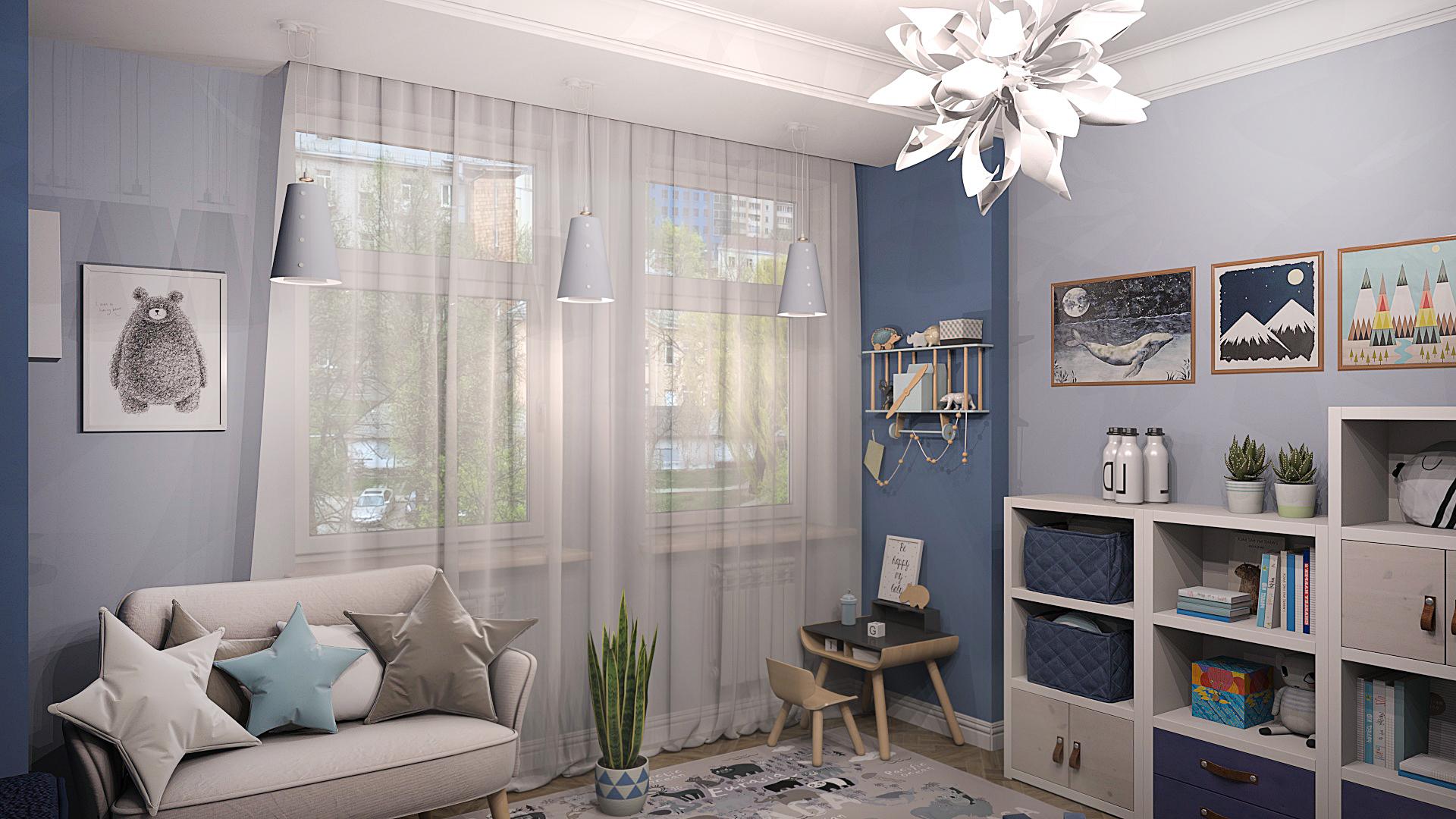 дизайн детской, детская комната в синих тонах, детская комната для мальчика, детская под ключ, интерьер детской комнаты, дизайн-проект детской