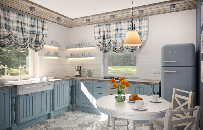 дизайн интерьера, дизайн кухни, плитка шестигранник на кухне, плитка шестигранник в интерьере, дизайн кухни в стиле кантри, плитка кабанчик на кухне