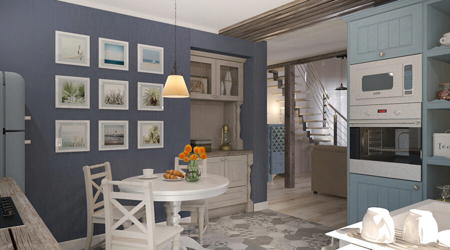 дизайн интерьера, дизайн кухни, плитка шестигранник на кухне, плитка шестигранник в интерьере, дизайн кухни в стиле кантри