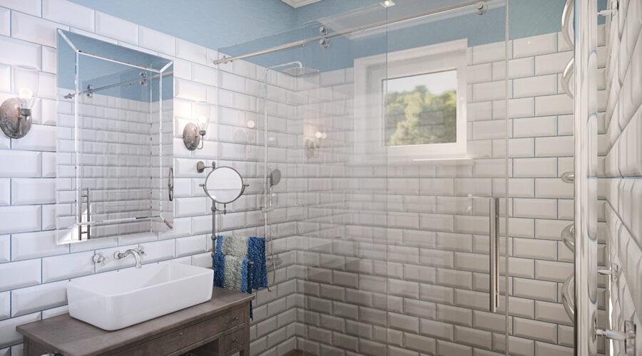 дизайн душевой, дизайн санузла, дизайн ванной комнаты, интерьер в стиле кантри, плитка кабанчик, интерьер на дачес