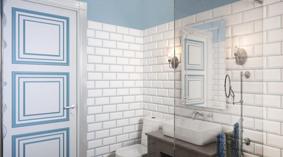 дизайн душевой, дизайн санузла, дизайн ванной комнаты, интерьер в стиле кантри, плитка кабанчик, интерьер на даче