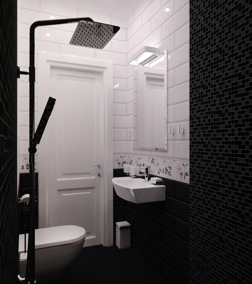 дизайн гостевой душевой, дизайн гостевого санузла, интерьер санузла, черная плитка, плитка керама марацци