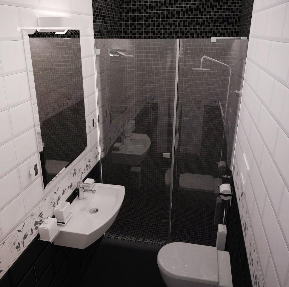 дизайн гостевой душевой, дизайн гостевого санузла, интерьер санузла, черная плитка