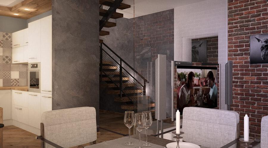 дизайн кухни, дизайн интерьера, кухня в современном стиле, кухня в стиле лофт, дизайн загородного дома, интерьер дома, кирпич в интерьере, лестница в стиле лофт, дизайн лестницы