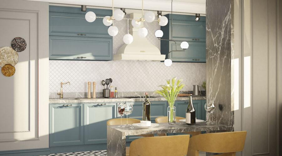 интерьер кухни в однокомнатной квартире
